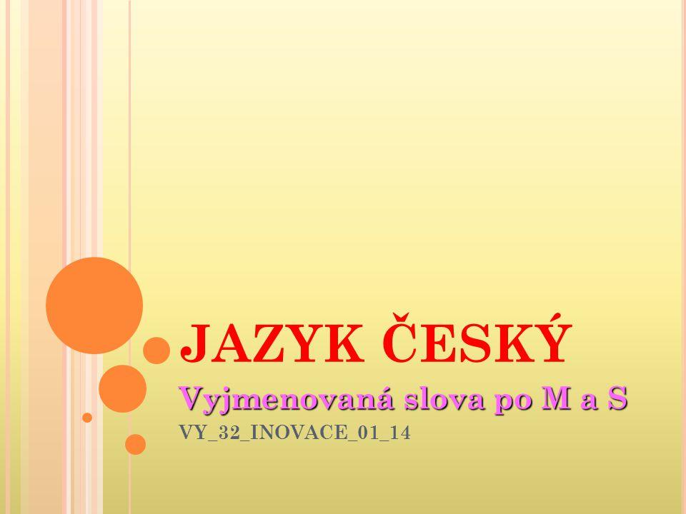 JAZYK ČESKÝ Vyjmenovaná slova po M a S VY_32_INOVACE_01_14