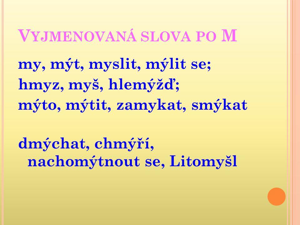 DOPLŇ SPRÁVNĚ Y,Ý / I,Í: M_lena um_vadlo m_ška m_nerál m_dlo hm_zožravec m_nistr M_chal m_šlenka m_nuta hlem_ždí chm_říčko odem_kat m_r om_l m_č