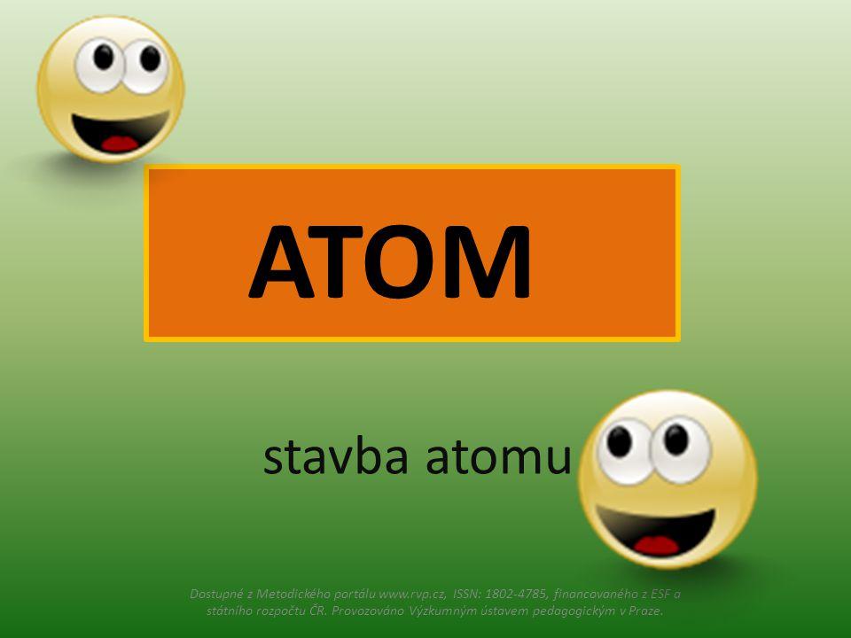 stavba atomu ATOM Dostupné z Metodického portálu www.rvp.cz, ISSN: 1802-4785, financovaného z ESF a státního rozpočtu ČR.