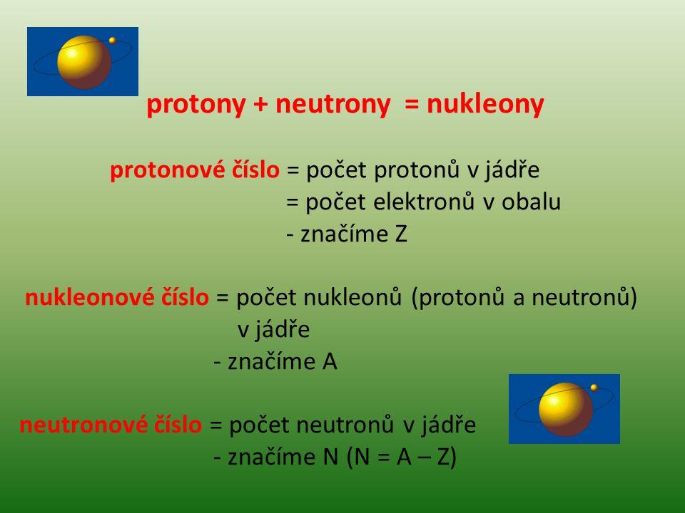 protony + neutrony = nukleony protonové číslo = počet protonů v jádře = počet elektronů v obalu - značíme Z nukleonové číslo = počet nukleonů (protonů a neutronů) v jádře - značíme A neutronové číslo = počet neutronů v jádře - značíme N (N = A – Z)
