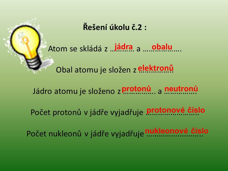 Řešení úkolu č.2 : Atom se skládá z ………… a ……………….
