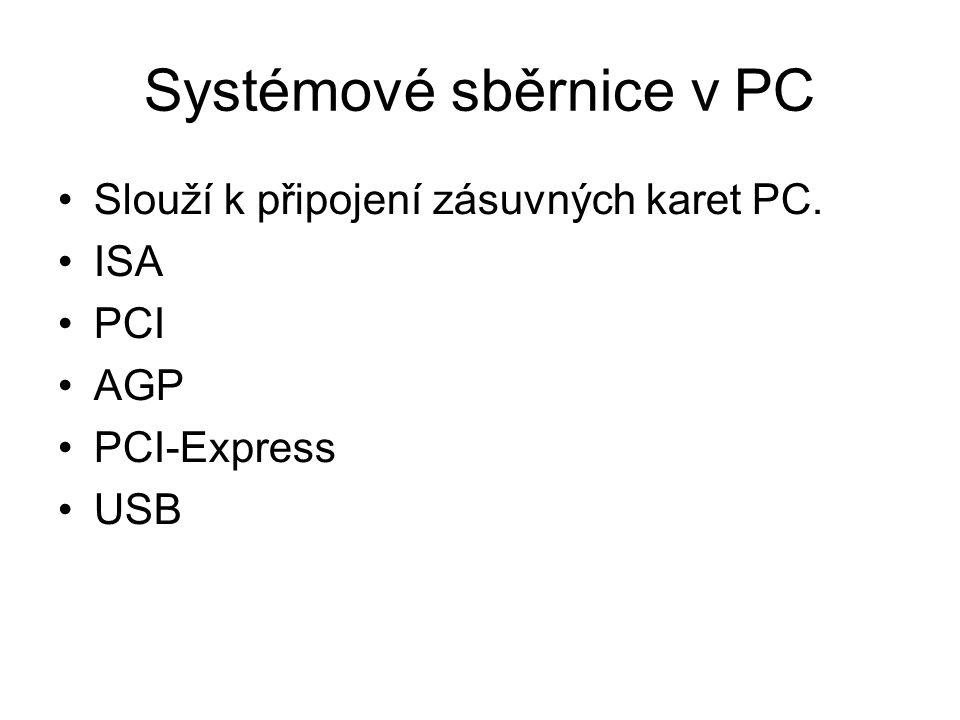Systémové sběrnice v PC Slouží k připojení zásuvných karet PC. ISA PCI AGP PCI-Express USB