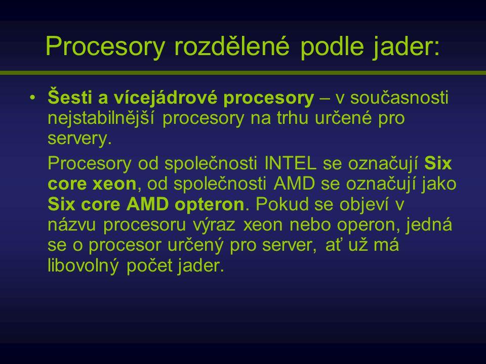 Šesti a vícejádrové procesory – v současnosti nejstabilnější procesory na trhu určené pro servery. Procesory od společnosti INTEL se označují Six core