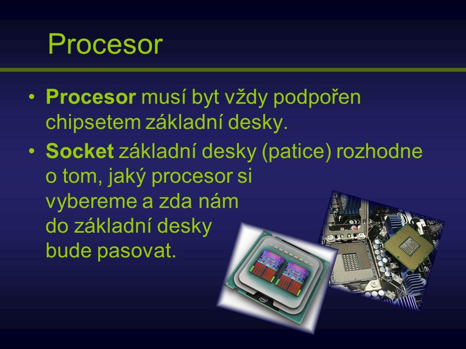 Procesor Procesor musí byt vždy podpořen chipsetem základní desky. Socket základní desky (patice) rozhodne o tom, jaký procesor si vybereme a zda nám
