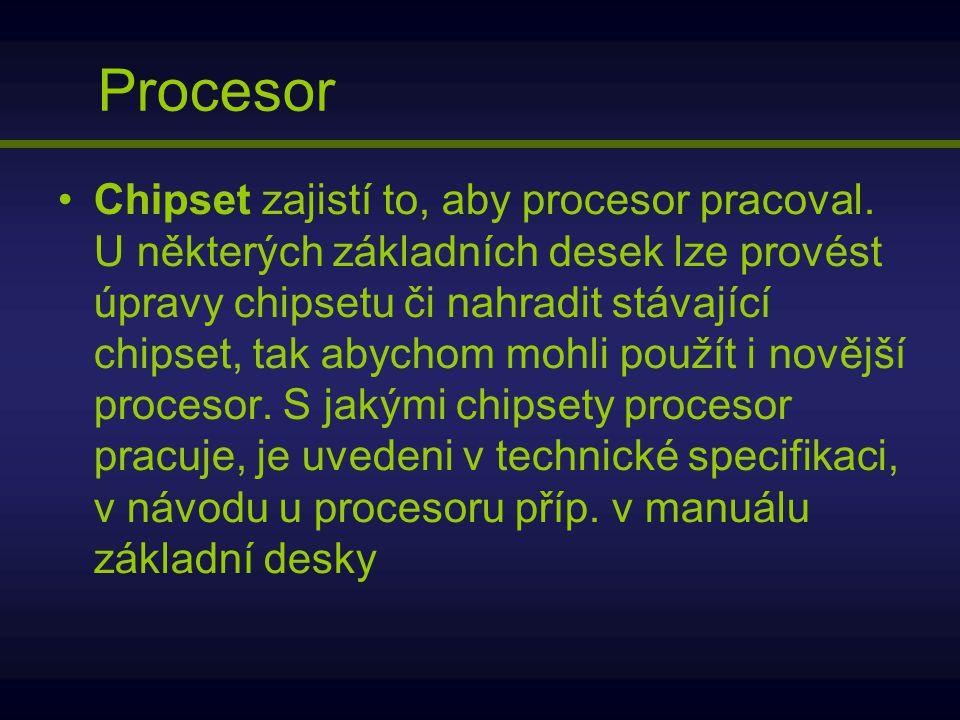 Procesor Chipset zajistí to, aby procesor pracoval. U některých základních desek lze provést úpravy chipsetu či nahradit stávající chipset, tak abycho