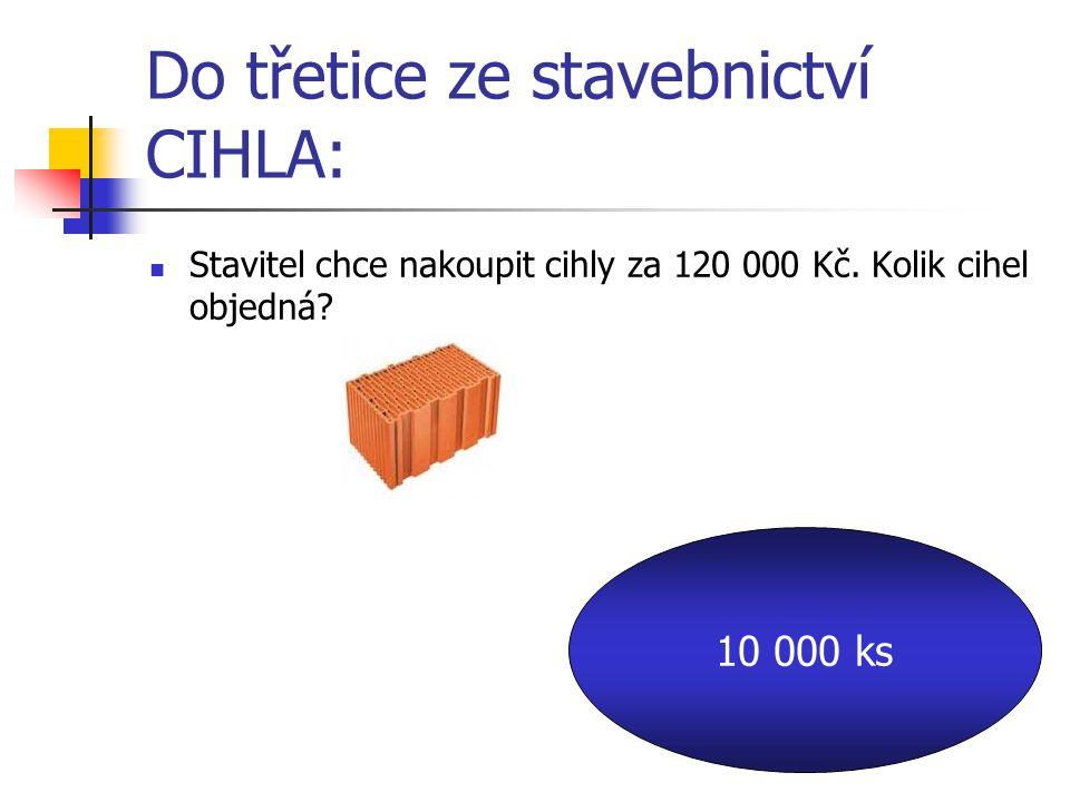 Do třetice ze stavebnictví CIHLA: Stavitel chce nakoupit cihly za 120 000 Kč.