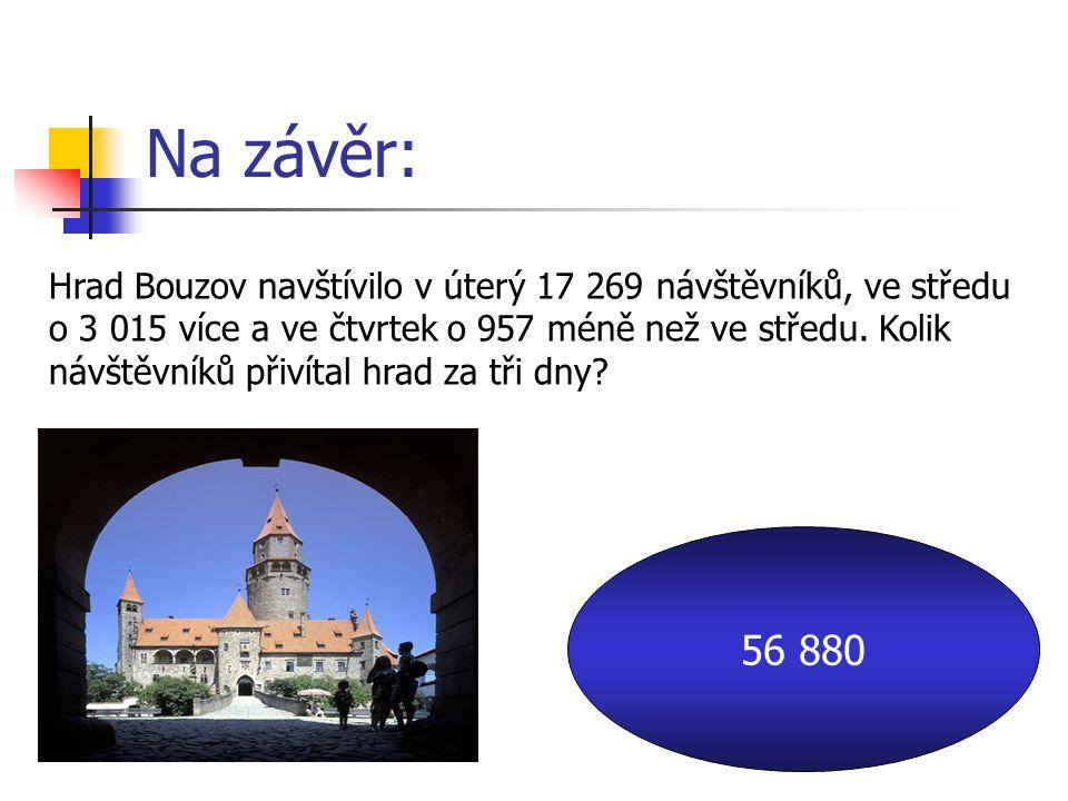 Na závěr: Hrad Bouzov navštívilo v úterý 17 269 návštěvníků, ve středu o 3 015 více a ve čtvrtek o 957 méně než ve středu.