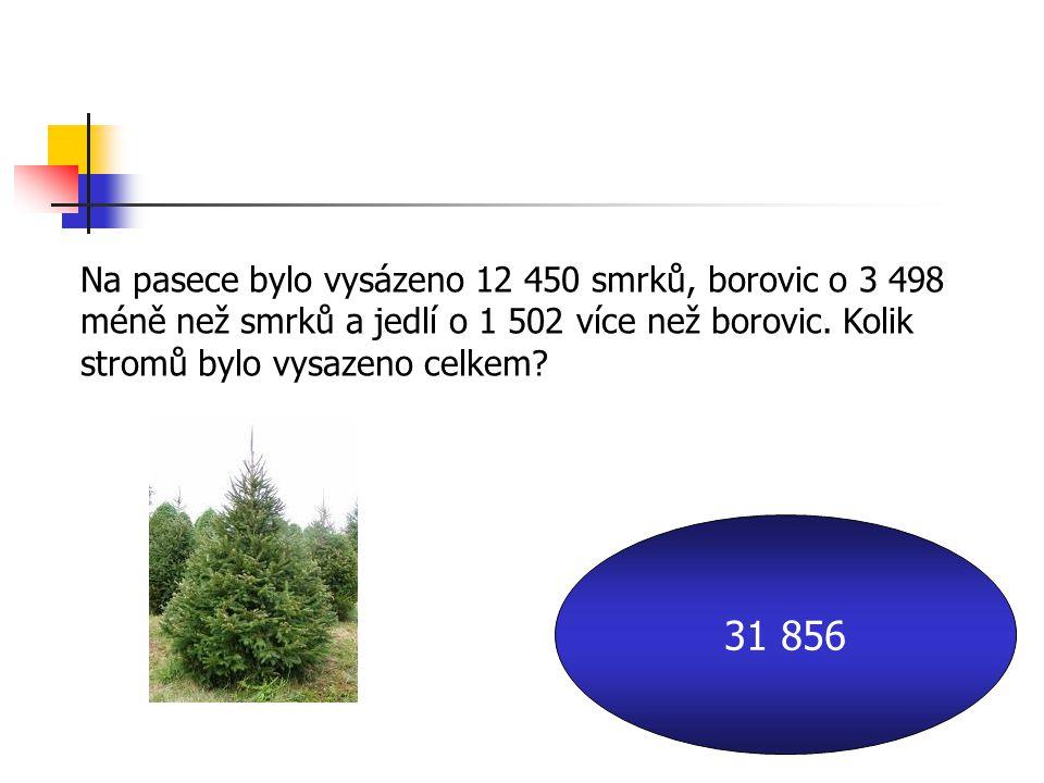 Na pasece bylo vysázeno 12 450 smrků, borovic o 3 498 méně než smrků a jedlí o 1 502 více než borovic.