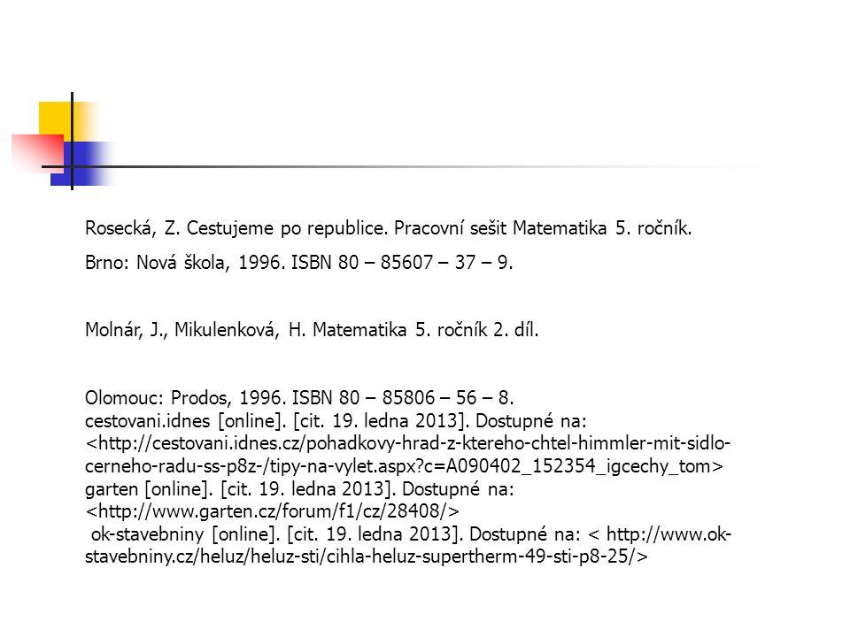Rosecká, Z. Cestujeme po republice. Pracovní sešit Matematika 5.