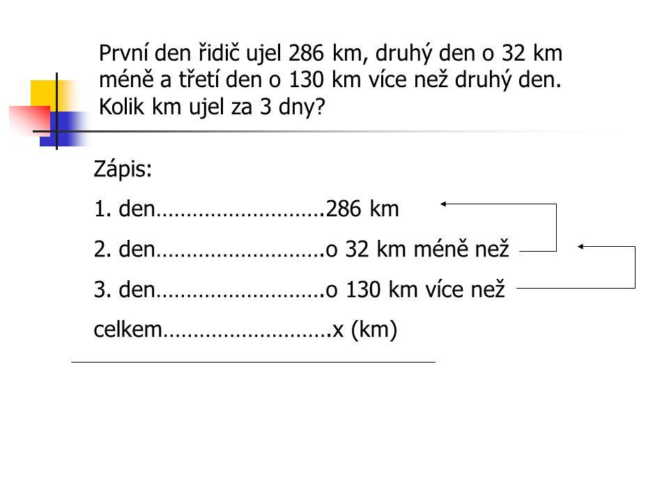 První den řidič ujel 286 km, druhý den o 32 km méně a třetí den o 130 km více než druhý den.