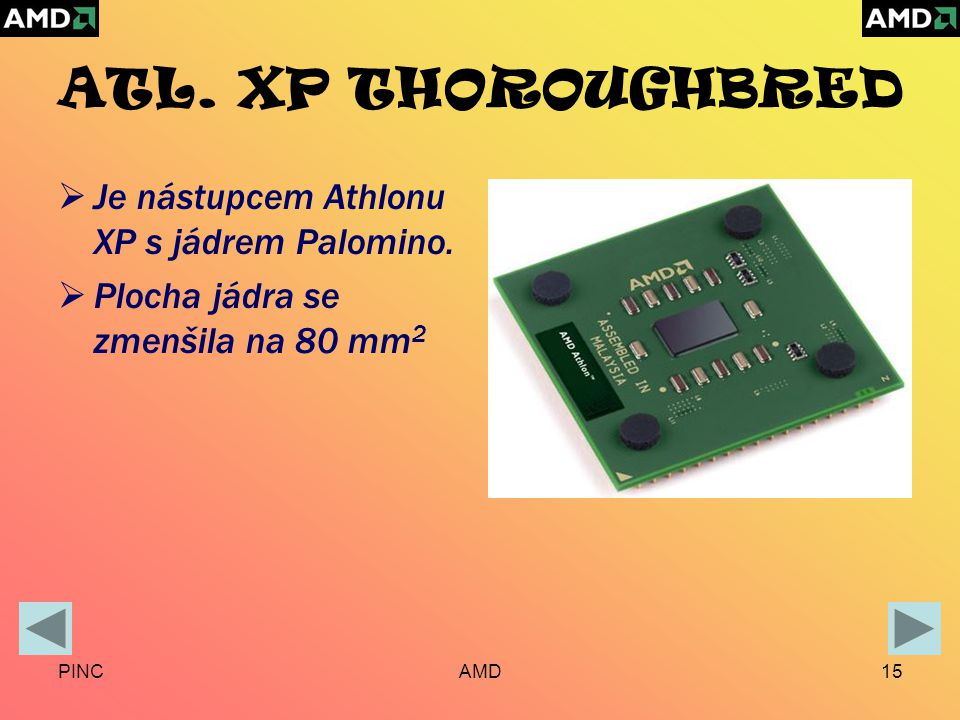 PINCAMD15 ATL. XP THOROUGHBRED  Je nástupcem Athlonu XP s jádrem Palomino.
