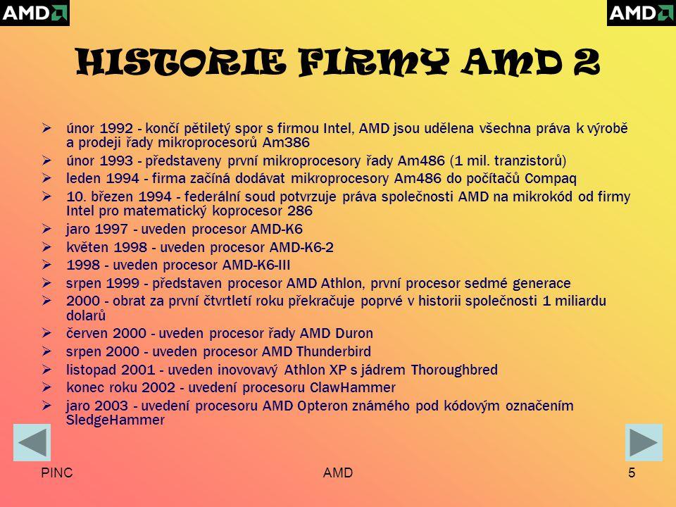 PINCAMD5 HISTORIE FIRMY AMD 2  únor 1992 - končí pětiletý spor s firmou Intel, AMD jsou udělena všechna práva k výrobě a prodeji řady mikroprocesorů Am386  únor 1993 - představeny první mikroprocesory řady Am486 (1 mil.