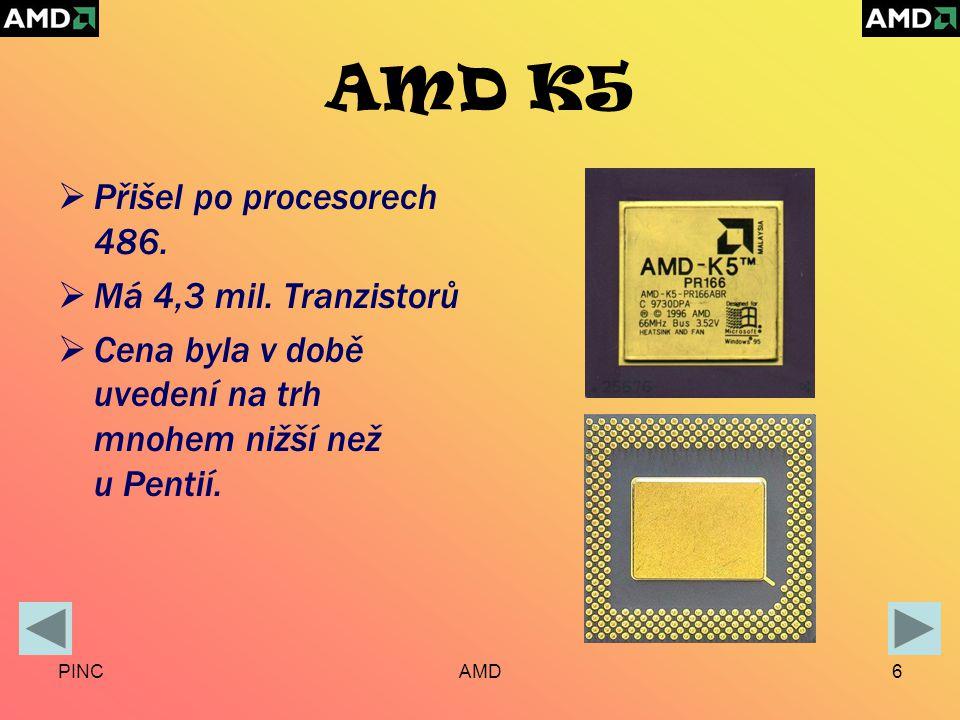 PINCAMD6 AMD K5  Přišel po procesorech 486.  Má 4,3 mil.