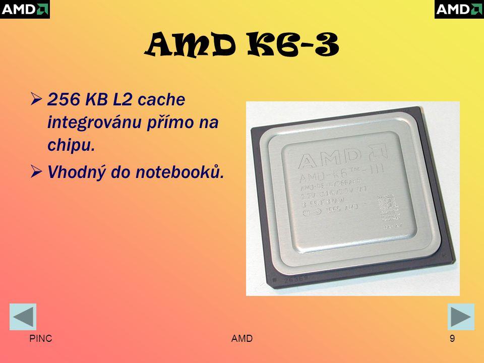 PINCAMD9 AMD K6-3  256 KB L2 cache integrovánu přímo na chipu.  Vhodný do notebooků.