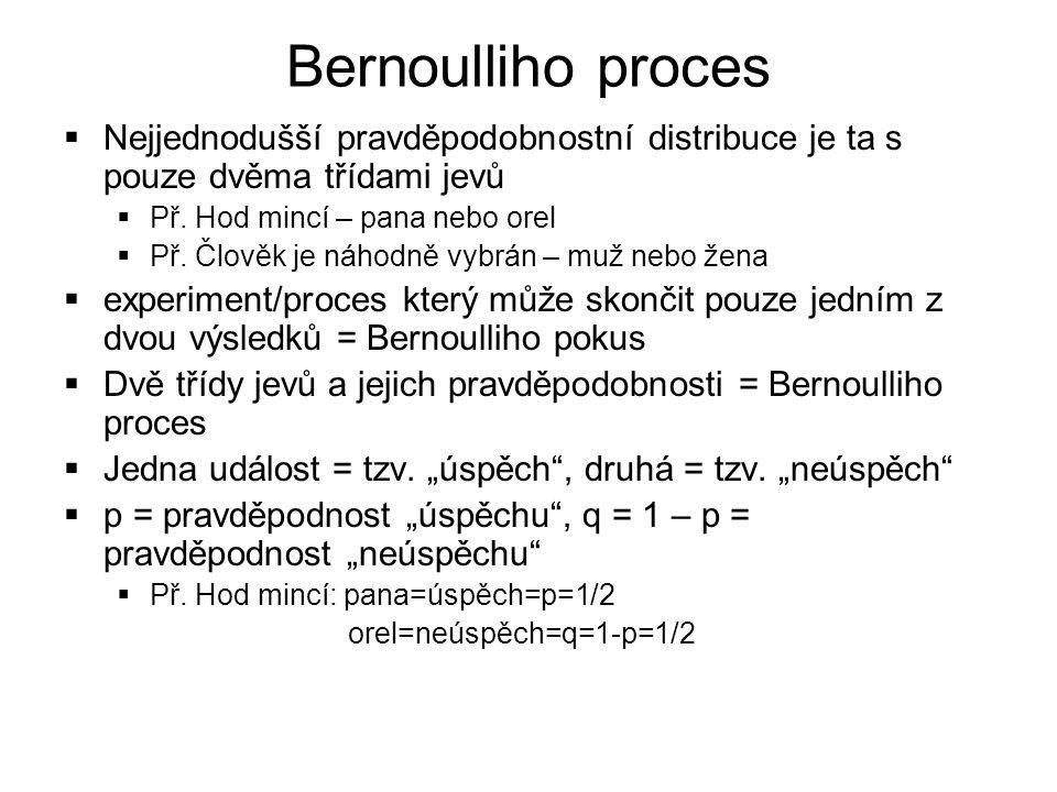 Bernoulliho proces  Nejjednodušší pravděpodobnostní distribuce je ta s pouze dvěma třídami jevů  Př.