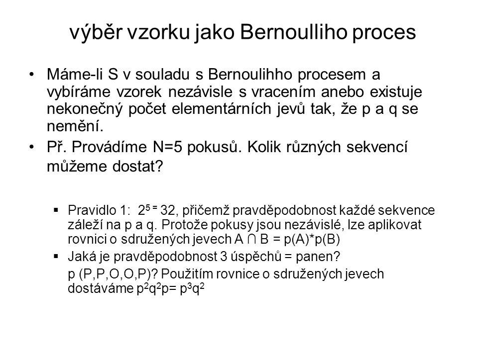  Stejná pravděpodobnost je i pro sekvenci (O,O,P,P,P), nezáleží tedy na pořadí úspěchů, jen na jejich počtu a pravděpodobnosti úspěchu  Pravděpodobnost jakékoli sekvence N nezávislých Bernoulliho pokusech záleží pouze na počtu úspěchů a jejich pravděpodobnosti: p r q N-r, = p r (1-p) N-r, kde r=počet úspěchů a N-r=počet neúspěchů  Sekvence 10 pokusů, nastanou 4 úspěchy: p 4 q 6 = p 4 (1-p) 6  Pokud např.