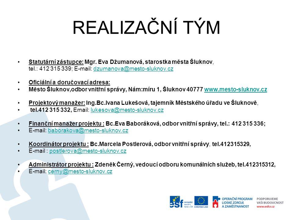REALIZAČNÍ TÝM Statutární zástupce: Mgr. Eva Džumanová, starostka města Šluknov, tel.: 412 315 339; E-mail: dzumanova@mesto-sluknov.czdzumanova@mesto-