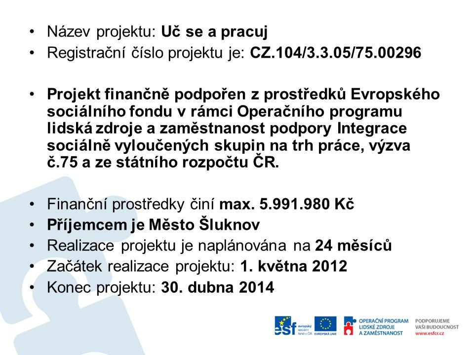 Název projektu: Uč se a pracuj Registrační číslo projektu je: CZ.104/3.3.05/75.00296 Projekt finančně podpořen z prostředků Evropského sociálního fondu v rámci Operačního programu lidská zdroje a zaměstnanost podpory Integrace sociálně vyloučených skupin na trh práce, výzva č.75 a ze státního rozpočtu ČR.