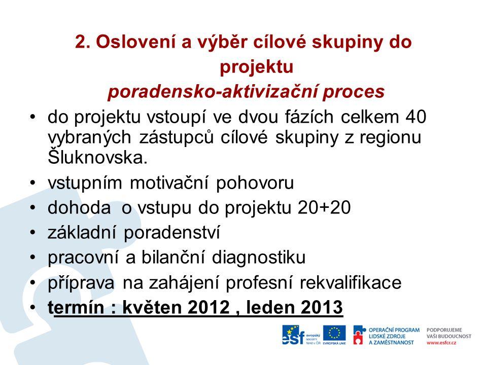 2. Oslovení a výběr cílové skupiny do projektu poradensko-aktivizační proces do projektu vstoupí ve dvou fázích celkem 40 vybraných zástupců cílové sk