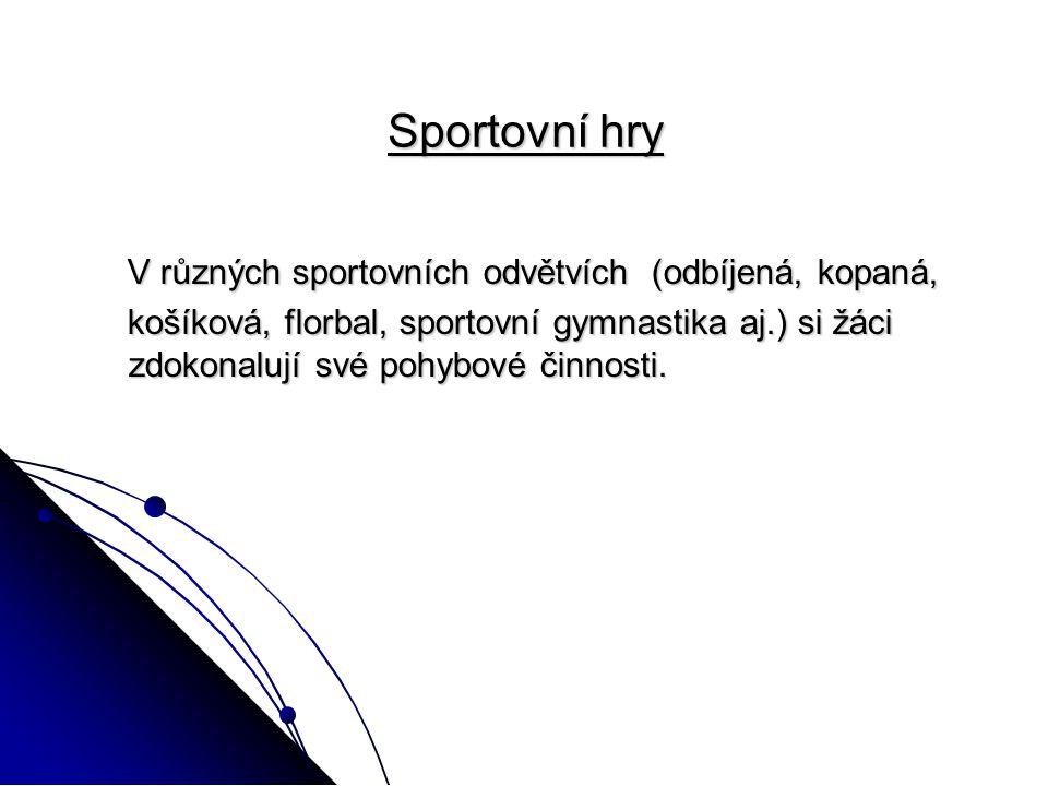 Sportovní hry V různých sportovních odvětvích (odbíjená, kopaná, V různých sportovních odvětvích (odbíjená, kopaná, košíková, florbal, sportovní gymnastika aj.) si žáci zdokonalují své pohybové činnosti.