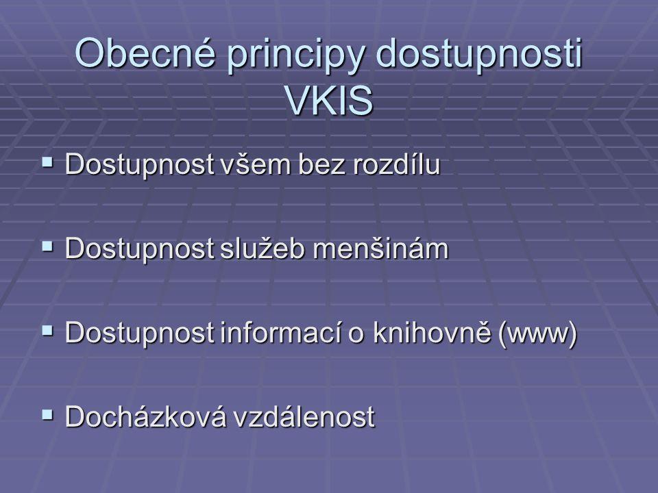 Obecné principy dostupnosti VKIS  Dostupnost všem bez rozdílu  Dostupnost služeb menšinám  Dostupnost informací o knihovně (www)  Docházková vzdálenost
