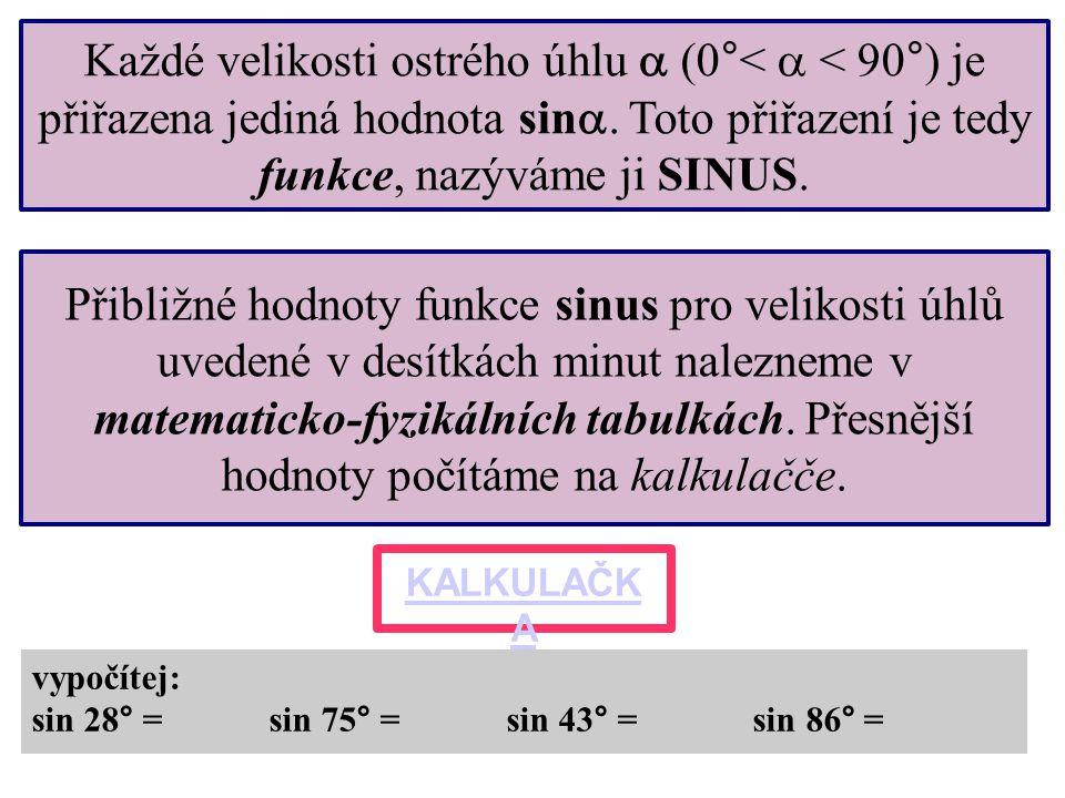 Každé velikosti ostrého úhlu  (0°<  < 90°) je přiřazena jediná hodnota sin . Toto přiřazení je tedy funkce, nazýváme ji SINUS. Přibližné hodnoty fu