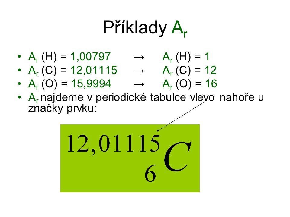 Příklady A r A r (H) = 1,00797 → A r (H) = 1 A r (C) = 12,01115 → A r (C) = 12 A r (O) = 15,9994 → A r (O) = 16 A r najdeme v periodické tabulce vlevo nahoře u značky prvku: