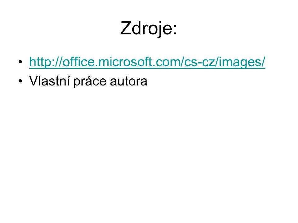 Zdroje: http://office.microsoft.com/cs-cz/images/ Vlastní práce autora