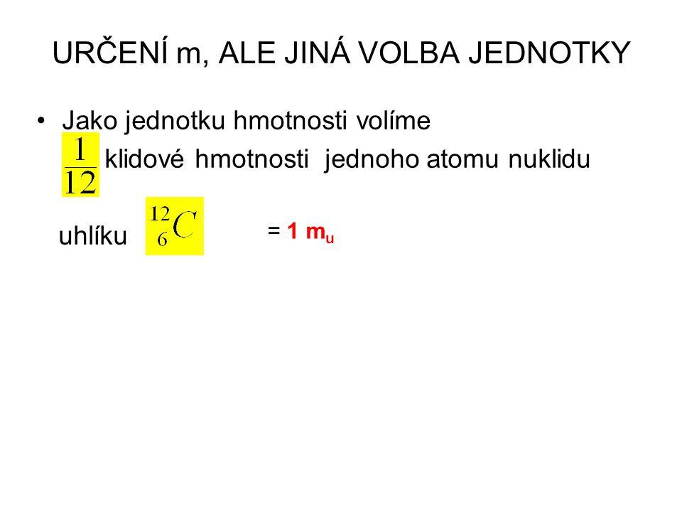 Jako jednotku hmotnosti volíme klidové hmotnosti jednoho atomu nuklidu uhlíku = 1 m u