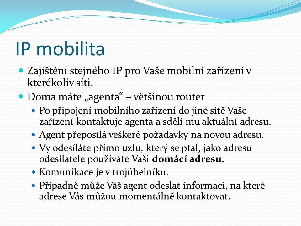 """IP mobilita Zajištění stejného IP pro Vaše mobilní zařízení v kterékoliv síti. Doma máte """"agenta"""" – většinou router Po připojení mobilního zařízení do"""