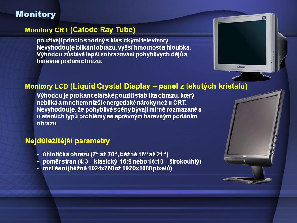 Monitory Monitory CRT (Catode Ray Tube) používají princip shodný s klasickými televizory.