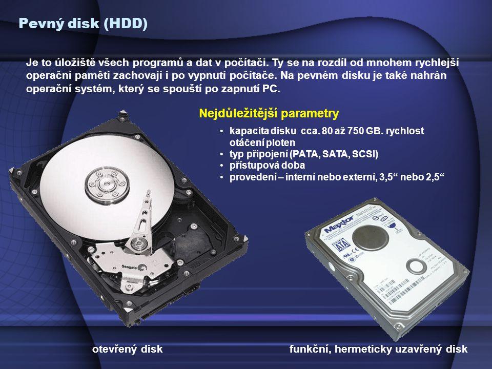 Pevný disk (HDD) Je to úložiště všech programů a dat v počítači.