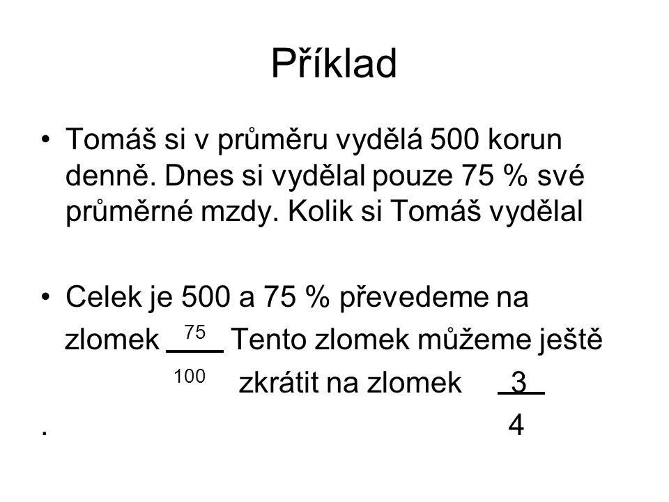 Příklad Tomáš si v průměru vydělá 500 korun denně.