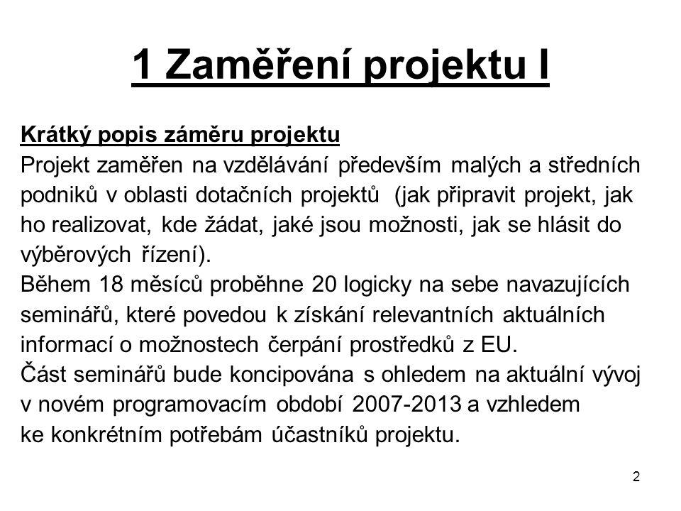 2 1 Zaměření projektu I Krátký popis záměru projektu Projekt zaměřen na vzdělávání především malých a středních podniků v oblasti dotačních projektů (