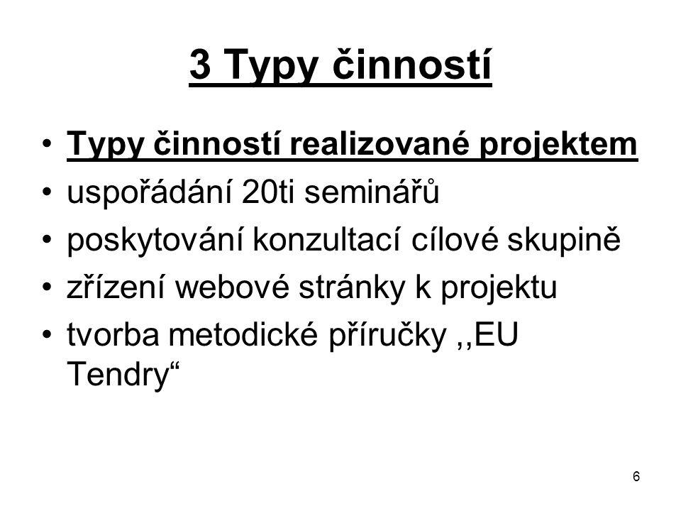 6 3 Typy činností Typy činností realizované projektem uspořádání 20ti seminářů poskytování konzultací cílové skupině zřízení webové stránky k projektu
