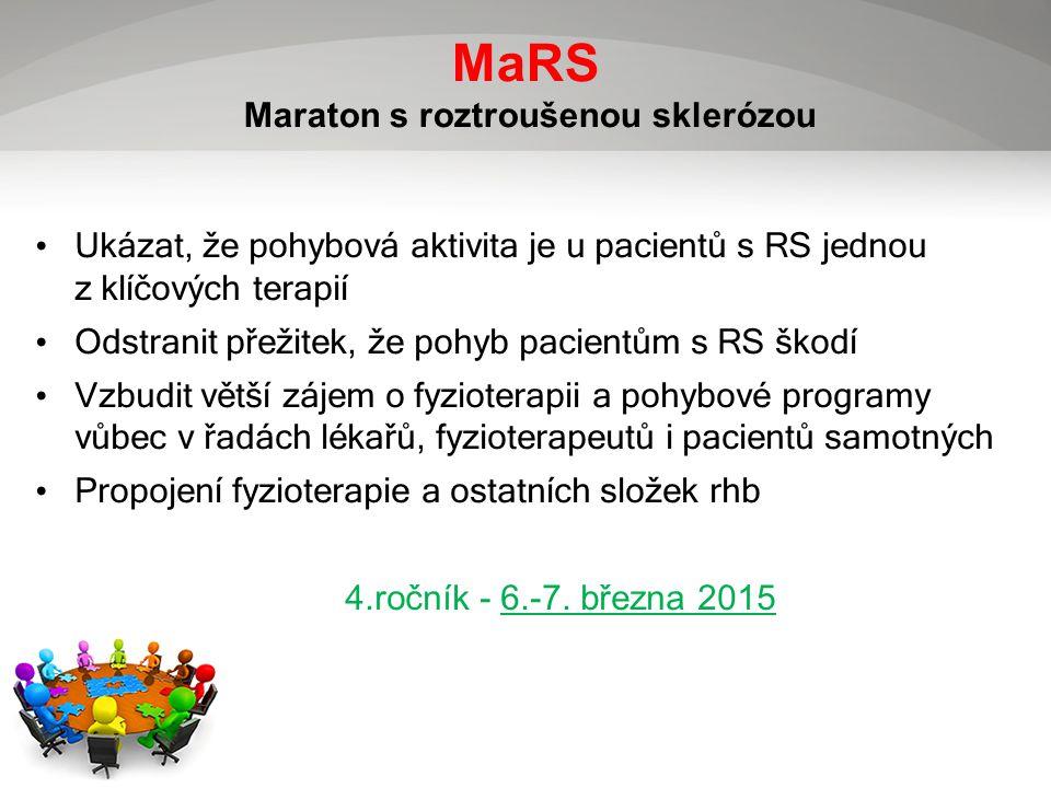 MaRS Maraton s roztroušenou sklerózou Ukázat, že pohybová aktivita je u pacientů s RS jednou z klíčových terapií Odstranit přežitek, že pohyb pacientům s RS škodí Vzbudit větší zájem o fyzioterapii a pohybové programy vůbec v řadách lékařů, fyzioterapeutů i pacientů samotných Propojení fyzioterapie a ostatních složek rhb 4.ročník - 6.-7.