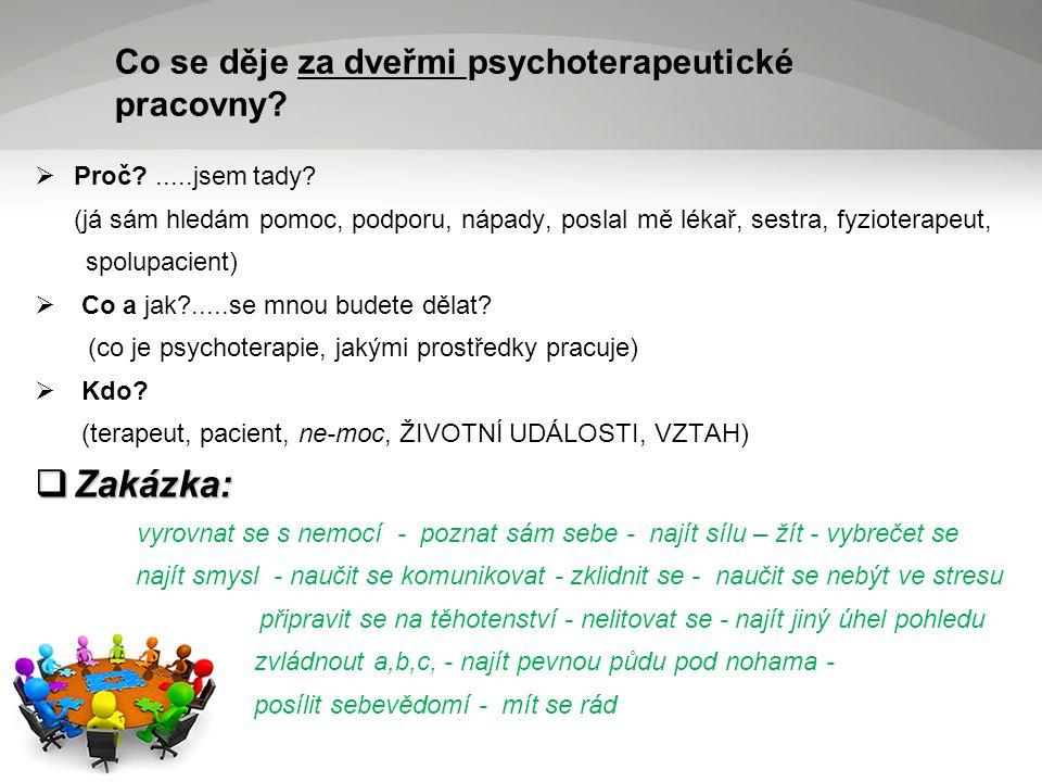 Co se děje za dveřmi psychoterapeutické pracovny.  Proč .....jsem tady.