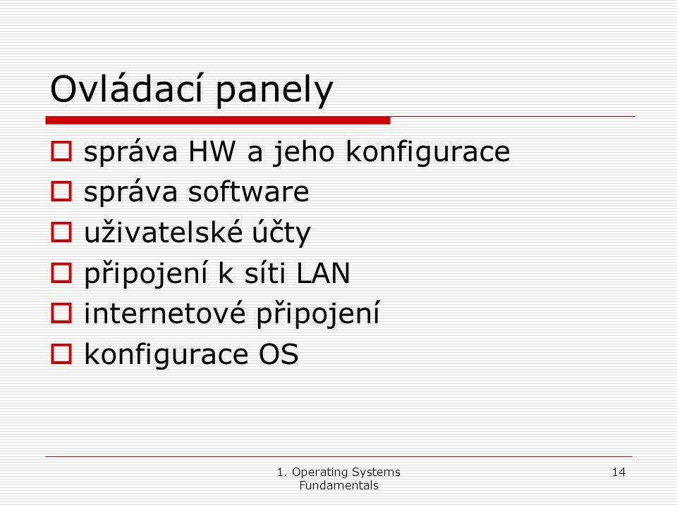 1. Operating Systems Fundamentals 14 Ovládací panely  správa HW a jeho konfigurace  správa software  uživatelské účty  připojení k síti LAN  inte