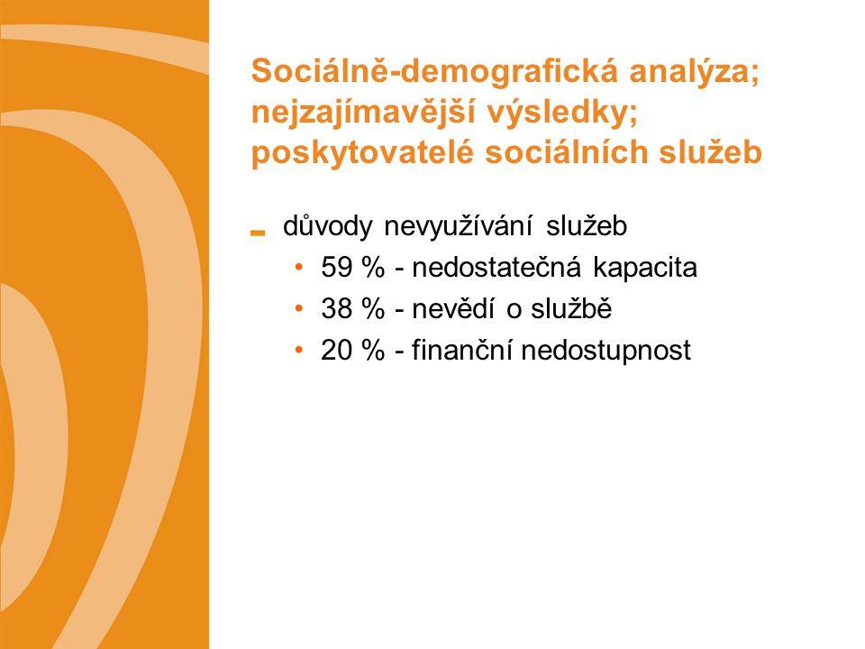 Sociálně-demografická analýza; nejzajímavější výsledky; poskytovatelé sociálních služeb důvody nevyužívání služeb 59 % - nedostatečná kapacita 38 % - nevědí o službě 20 % - finanční nedostupnost