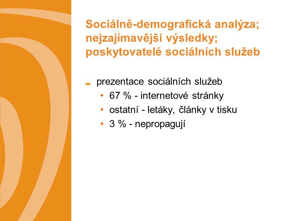 Sociálně-demografická analýza; nejzajímavější výsledky; poskytovatelé sociálních služeb prezentace sociálních služeb 67 % - internetové stránky ostatní - letáky, články v tisku 3 % - nepropagují
