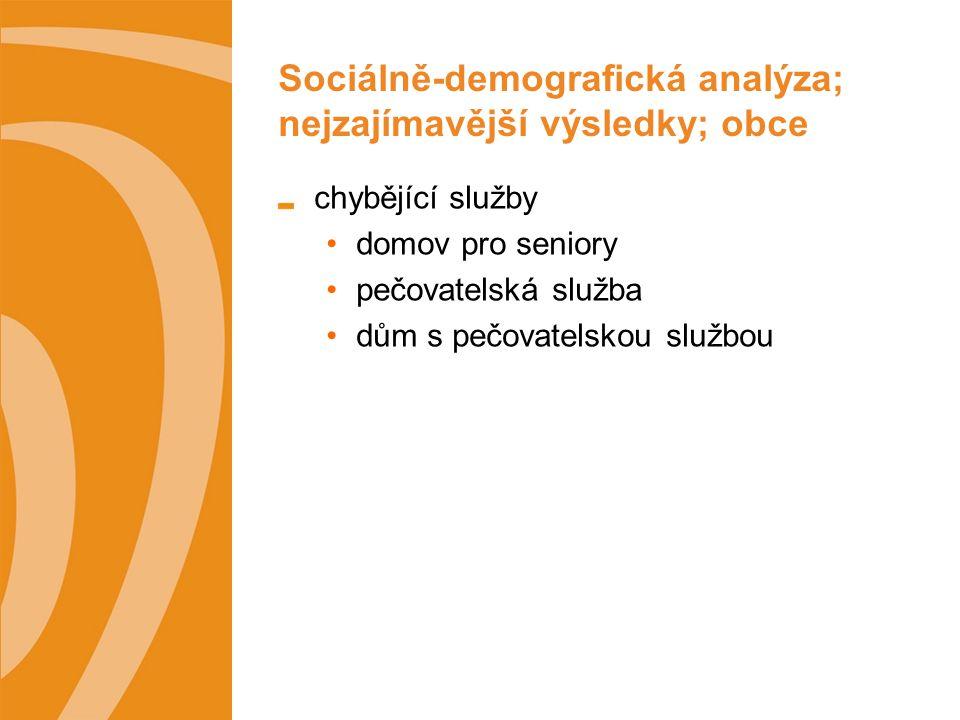 Sociálně-demografická analýza; nejzajímavější výsledky; obce chybějící služby domov pro seniory pečovatelská služba dům s pečovatelskou službou