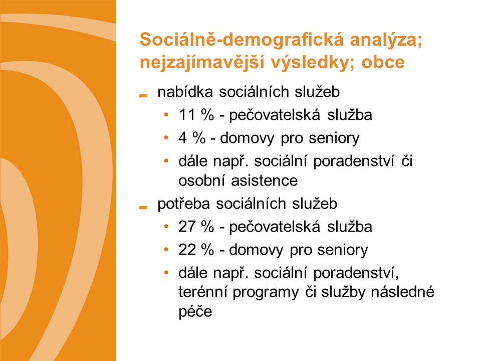 Sociálně-demografická analýza; nejzajímavější výsledky; poskytovatelé sociálních služeb poskytované služby 49 % - ambulantní 34 % - terénní 17 % - pobytová 18 % - sociální poradenství 8 % - sociální rehabilitace cílová skupina 19 % - senioři 13 % - tělesně postižení, rodiny s dětmi