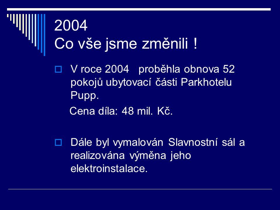 2003 Co vše jsme změnili !  Výdaje spojené s pořízením stálých aktiv činily cca 7 mil. Kč a týkaly se hlavně movitého majetku (zabudování varného blo
