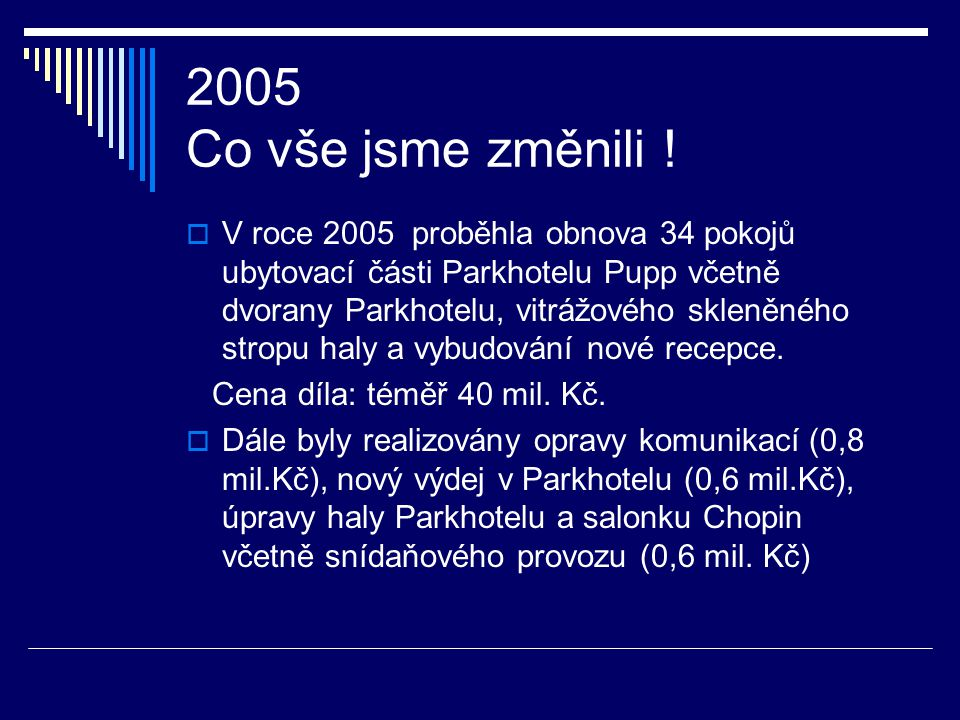 2004 Co vše jsme změnili !  V roce 2004 proběhla obnova 52 pokojů ubytovací části Parkhotelu Pupp. Cena díla: 48 mil. Kč.  Dále byl vymalován Slavno