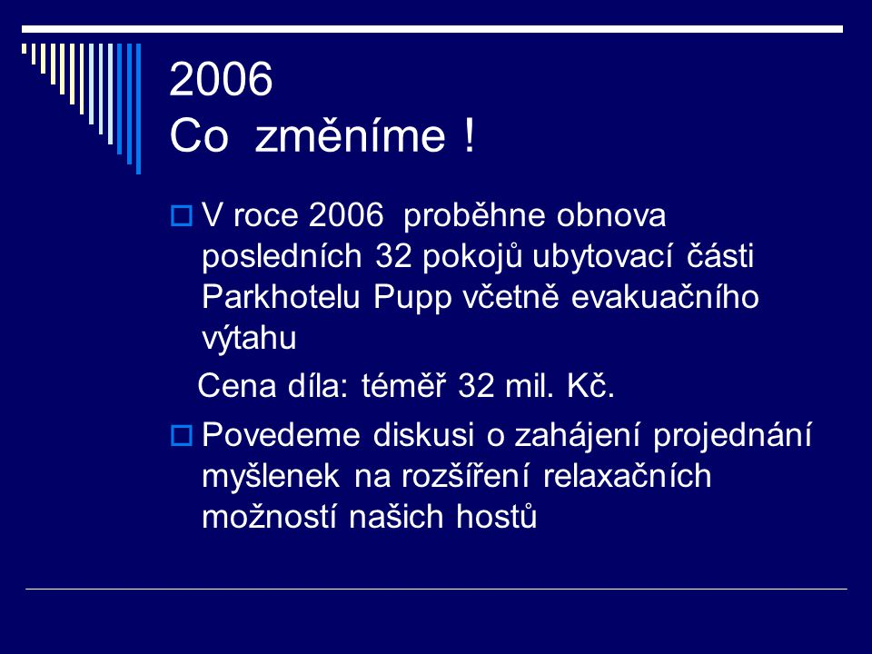 2005 Co vše jsme změnili !  V roce 2005 jsme dále obhájili certifikaci ISO 9001  Velmi důležitým momentem naší práce byla obhajoba certifikace na HA