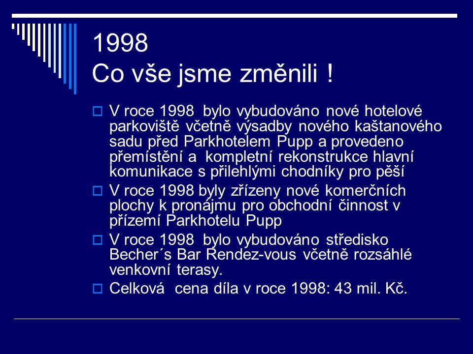 1997 Co vše jsme změnili !  V roce 1997 byl vybudován noční bar ( Becher´s Bar ) ve stylu anglického klubu. Cena díla: 7 mil. Kč  Stali jsme se plat