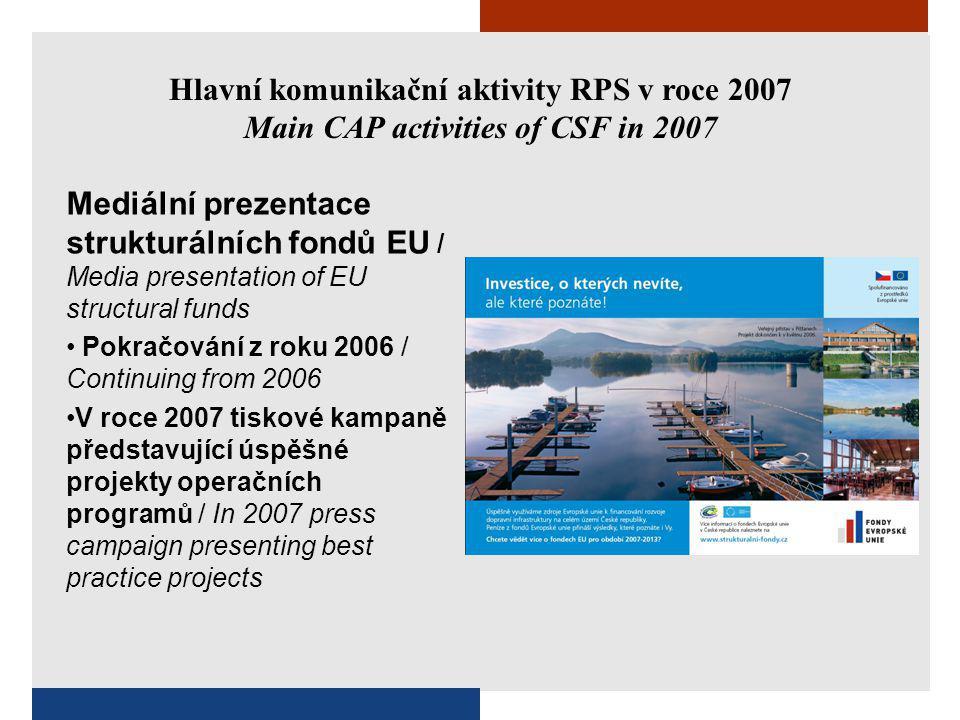 Hlavní komunikační aktivity RPS v roce 2007 Main CAP activities of CSF in 2007 Mediální prezentace strukturálních fondů EU / Media presentation of EU structural funds Pokračování z roku 2006 / Continuing from 2006 V roce 2007 tiskové kampaně představující úspěšné projekty operačních programů / In 2007 press campaign presenting best practice projects
