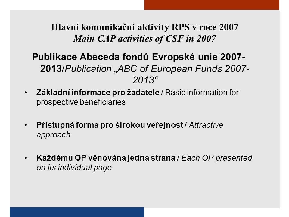 """Hlavní komunikační aktivity RPS v roce 2007 Main CAP activities of CSF in 2007 Publikace Abeceda fondů Evropské unie 2007- 2013/Publication """"ABC of European Funds 2007- 2013 Kontaktní informace / Contacts 28 stran / 28 pages Náklad 32 000 ks / Edition of 32 000 copies"""
