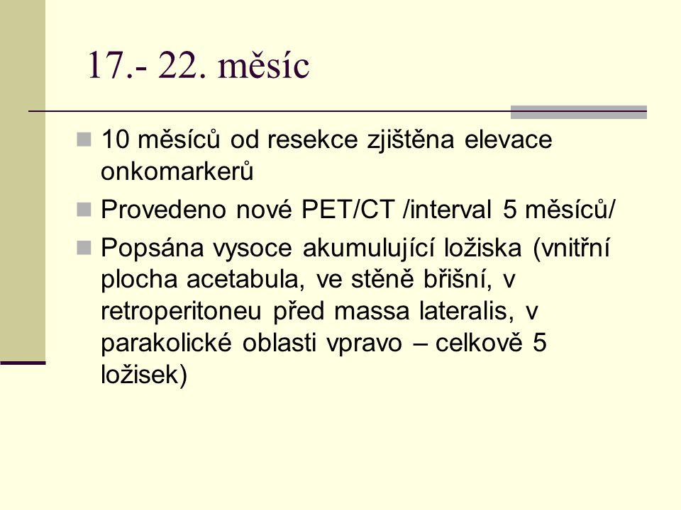 17.- 22. měsíc 10 měsíců od resekce zjištěna elevace onkomarkerů Provedeno nové PET/CT /interval 5 měsíců/ Popsána vysoce akumulující ložiska (vnitřní