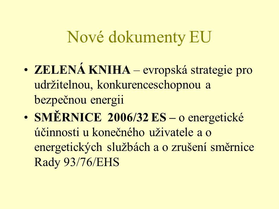 Nové dokumenty EU ZELENÁ KNIHA – evropská strategie pro udržitelnou, konkurenceschopnou a bezpečnou energii SMĚRNICE 2006/32 ES – o energetické účinnosti u konečného uživatele a o energetických službách a o zrušení směrnice Rady 93/76/EHS